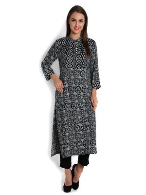 indibelle black rayon printed straight long kurta