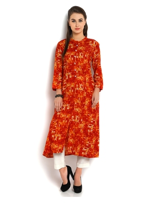 Indibelle orange abstract printed rayon A-Line kurta