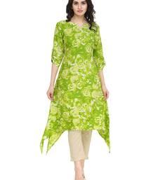 Buy indibelle lemon flower printed rayon assymatrical kurta plus-size-kurtis online