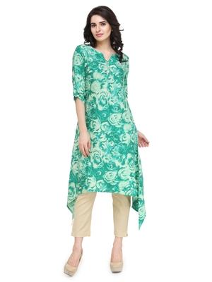 Indibelle green flower printed rayon assymatrical kurta