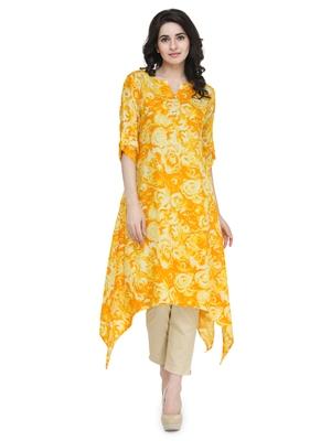 indibelle yellow flower printed rayon assymatrical kurta