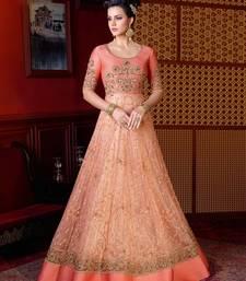 Buy Peach embroidered net salwar wedding-salwar-kameez online