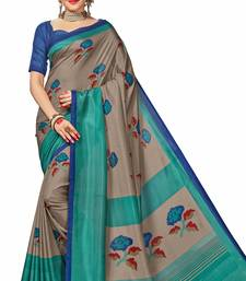 Buy Orange printed Malgudi Art Silk saree with blouse printed-saree online