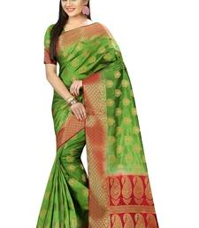 Buy Green woven nylon saree with blouse hand-woven-saree online
