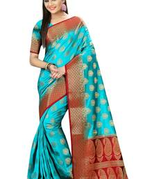 Buy Blue woven nylon saree with blouse hand-woven-saree online