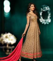 Buy Priyanka Chopra Beige Embroidery Soft Net Semi Stitched Designer Party Wear Anarkali Suit anarkali-salwar-kameez online