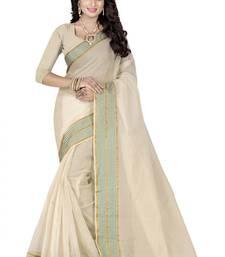 Buy Cream woven poly cotton saree with blouse cotton-saree online