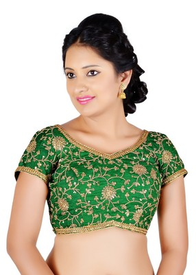 Green floral embroidery silk readymade blouse
