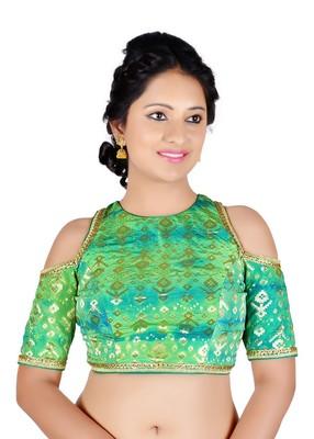 195e7eb9c6bde6 Green patola print brocade readymade blouse - muhenera s - 2257138
