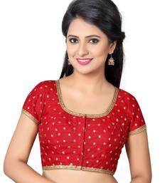 6618cf8617e4e6 Red floral work dupion silk readymade blouse