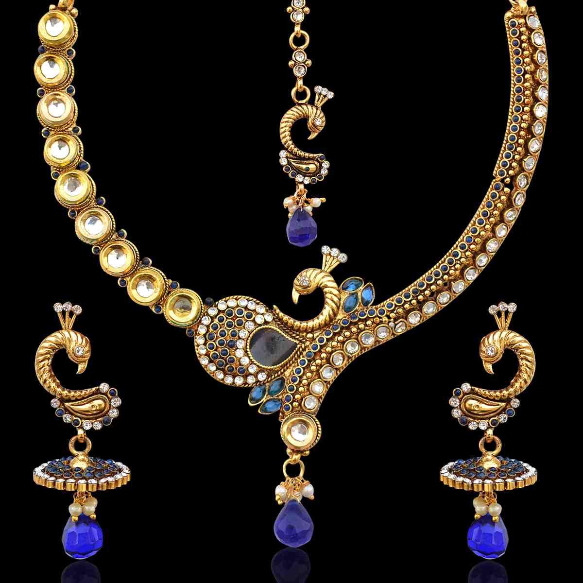 8266d7faf8f7 Blue stones peacock on a branch kundan pearl necklace set by adiva v331b -  ADIVA - 121811