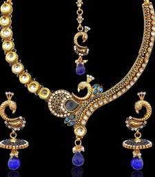 Blue stones peacock on a branch kundan pearl necklace set by adiva v331b