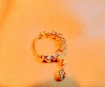 Royal Cz Gold Plated Spring Nose Ring