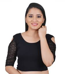 Buy Black Cotton Lycra stitched plain readymade blouse readymade-blouse online