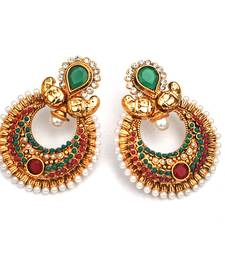 Buy Green & Red Half-moon Stone & Pearl Earrings stud online