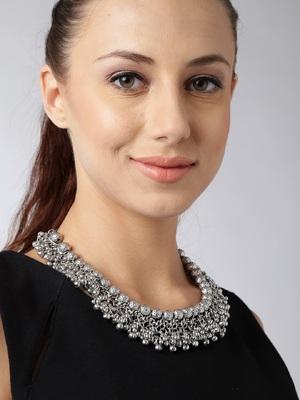 Silver crystal necklaces