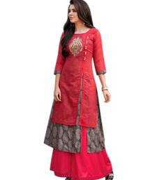 Red embroidered chanderi long-kurtis