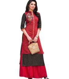 Buy Red embroidered chanderi long-kurtis long-kurtis online
