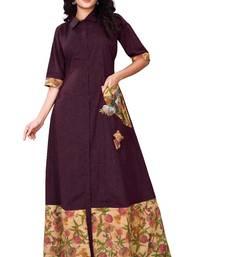 Purple printed cotton poly long-kurtis