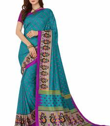 Buy Turquoise printed south silk saree with blouse pongal-dhoti-saree online