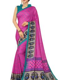 Buy Pink printed south silk saree with blouse pongal-dhoti-saree online