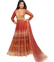 Brown & Cream Color Designer Embroidered Pure Georgette Semi-Stitched Anarkali shop online