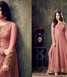 Buy Pink embroidered net salwar with dupatta salwar-kameez online