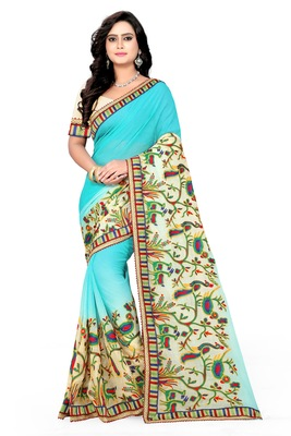 Light blue embroidered chiffon saree with blouse