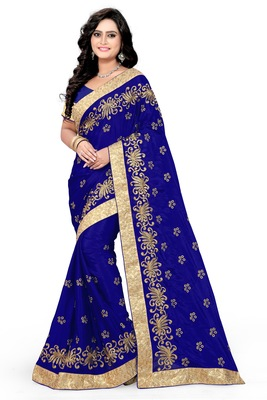 Navy blue embroidered art silk sarees saree with blouse