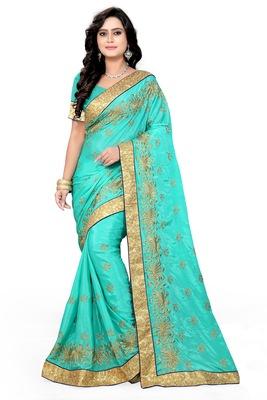 Sky blue embroidered art silk sarees saree with blouse