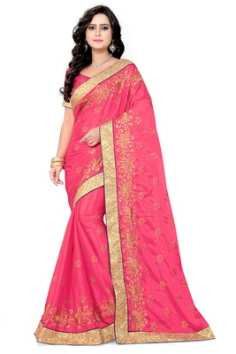 Pink embroidered art silk sarees saree with blouse