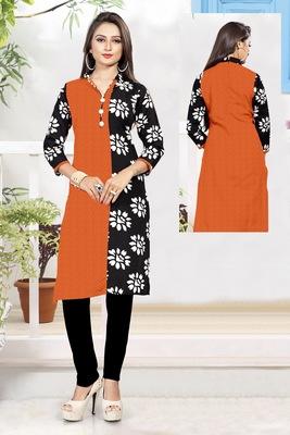 Orange printed cotton poly ethnic-kurtis