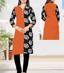 Orange printed cotton poly ethnic-kurtis