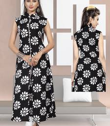 Black printed cotton poly ethnic-kurtis