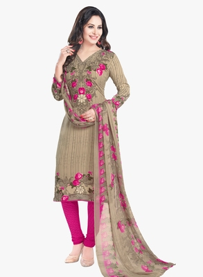 Beige Printed Synthetic Salwar With Dupatta