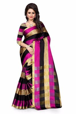 Multicoloured  woven art silk saree with blouse