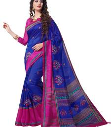 Blue printed south silk saree with blouse