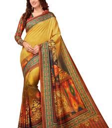 Buy Yellow printed south silk saree with blouse pongal-dhoti-saree online