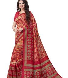 Buy Red printed south silk saree with blouse south-indian-saree online