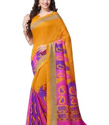 Yellow printed south silk saree with blouse