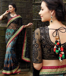Buy Black Blue Net Jacquard Banarasi Saree bridal-saree online