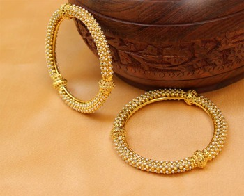 Gold agate bangles-and-bracelets