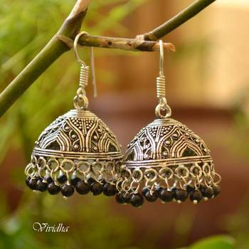 Black Beads White Metal Jhumka