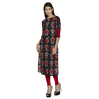 black screen print cotton stitched kurti