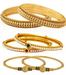 Gold pearl bangles-and-bracelets