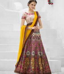 Pink and Cream Premium Heritage Silk embroidered semi stitched lehenga with dupatta