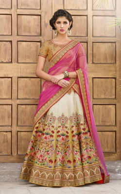 Beige and Cream Premium Heritage Silk embroidered semi stitched lehenga with dupatta