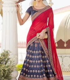 Blue Premium Heritage Silk embroidered semi stitched lehenga with dupatta