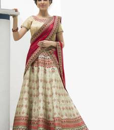 Buy Cream Premium Heritage Silk embroidered semi stitched lehenga with dupatta lehenga-choli online