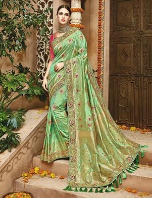 f08fb1f1238dff Light olive woven silk saree with blouse - Monjolika - 2265653